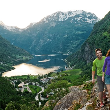 View of Geirangerfjord & Norway in a nutshell® tour.Travel with fjord tours, train and bus from Oslo, Bergen and Ålesund