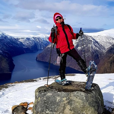 Snow shoing by the Aurlandsfjord - Aurland, Norway