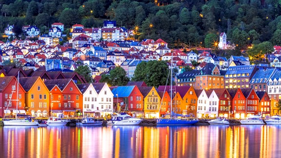 UNESCO Bryggen in Bergen seen from seaside - Bergen, Norway