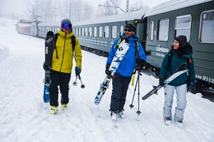 Skiers at the Flåm Railway - Norway