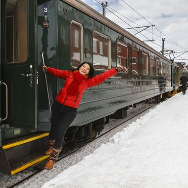 Happy girl on the Flåm Railway - Norway
