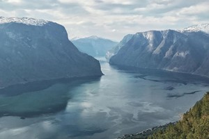 Panorama view over the Aurlandsfjord - Aurland, Norway