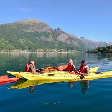 Kayaking on the Nordfjord, Olden