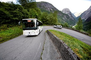Norway in a nutshell® bus on Stalheimskleiva - Gudvangen - Voss , Norway