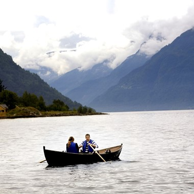 In a rowing boat on the beautiful Hardangerfjord - Hardanger