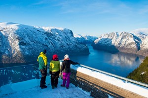 Experience the Stegastein view point on the Sognefjord in a nutshell winter tour by Fjord Tours - Aurland, Norway