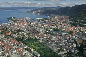 Panoramautsikt over Bergen