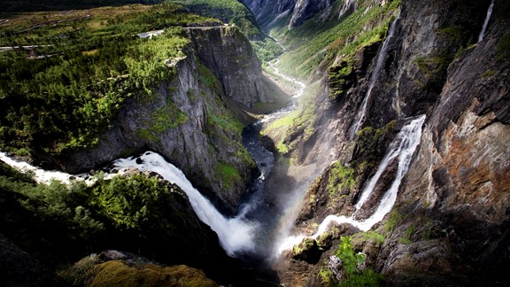 Voringsfossen waterfall in Eidfjord in the famous Norwegian fjords. Getting here with the Hardangerfjord in a nutshell tour