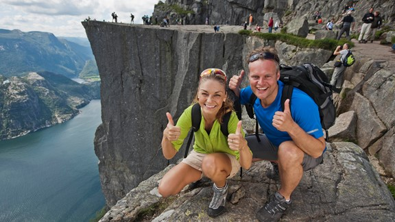 Preikestolen or the Pulpit rock is one of Norway's most spectacular sights. The Pulpit Rock is located in the Lysefjord. Hike to the top!