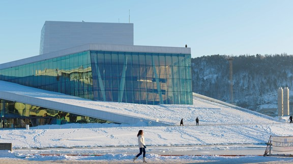 Winter on the roof of the Oslo Opera House - Oslo, Norway