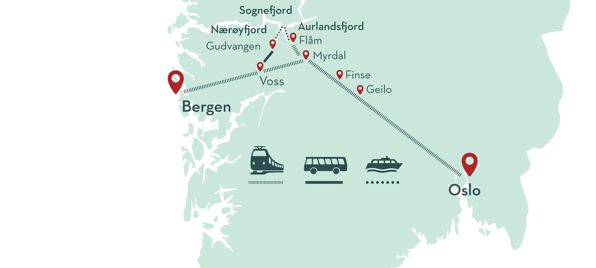 Bahn: map norway in a nutshell