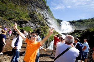 Experience the Kjosfossen waterfall on the Sognefjord in a nutshell trip
