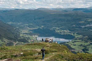 Enjoing the view from the top of the Hangur Mountain in Voss  - Explore Voss tour by Fjord Tours - Voss, Norway