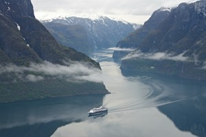 Experience the Aurlandsfjord with Fjord Tours on the Epic Fjord & Rail tour- View from Stegastein, Aurland, Norway