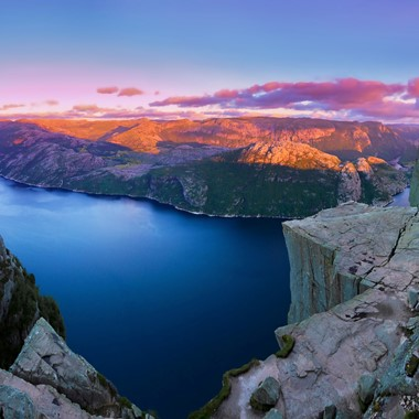 Preikestolen Panoramic Sunset - The Lysefjord, Norway