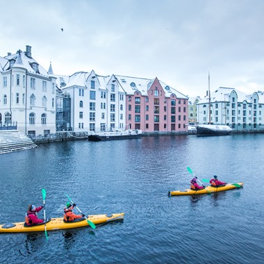 Winter kayaking in Ålesund, Norway