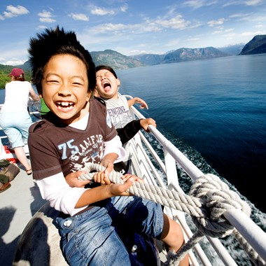 Happy Children on the Sognefjord in a nutshell tour, Norway