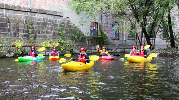 Guided kayaking trip on Akerselva in Oslo