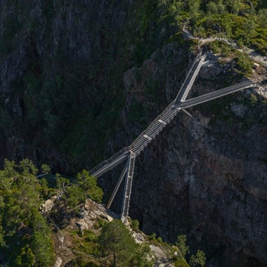 Experience the amazing Vøringsfossen Step Bridge on the Hardangerfjord in a nutshell tour- Eidfjord Hardanger, Norway