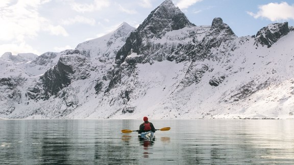 In the kayak a calm winter day - Reine, Lofoten Islands - Norway