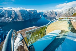 Experience the magical view from Stegastein on the Norway in a nutshell® winter tour by Fjord Tours - Flåm, Norway
