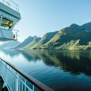 Scenic view of the fjords from the Hurtigruten on the Hjørundfjord & Norway in a nutshell® tour in Norway from Bergen, Oslo and Ålesund
