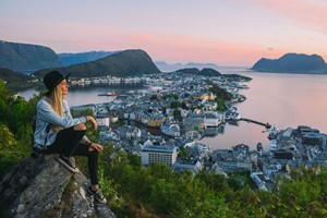Experience  Aksla Viewpoint in Ålesund on the Epic Fjord & Rail tour - Ålesund, Norway