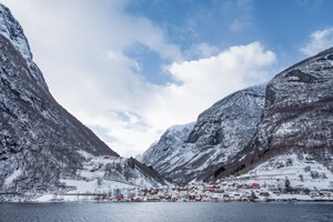 Experience a winter dressed Nærøyfjord on the Norway in a nutshell® winter tour by Fjord Tours - Flåm, Norway